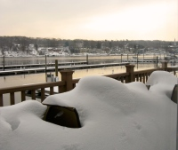 New Haven, CT - Snowy view of the Quinnipiac River.